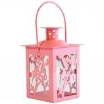 Lanterna Marroquina Amizmiz Rosa em Metal e Vidro - 16x8 cm