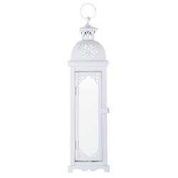 Lanterna Média Marroquina Casablanca Branca em Metal