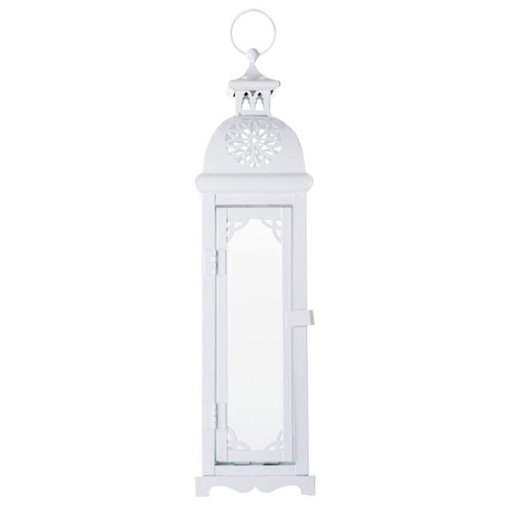 Lanterna Média Marroquina Casablanca Branca em Metal - 45x11 cm
