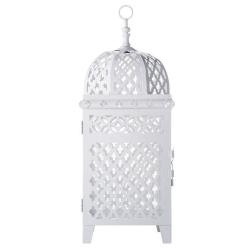 Lanterna Marroquina Vazada Branca Grande em Metal - 47x16 cm