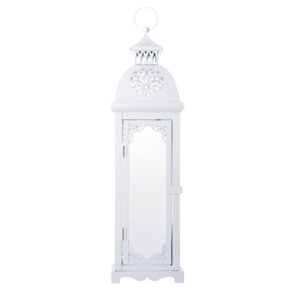 Lanterna Alta Marroquina Casablanca Branca em Metal - 55x16 cm