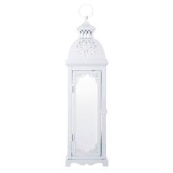 Lanterna Alta Marroquina Casablanca Branca em Metal