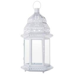 Lanterna Marroquina Gazebo Branca em Metal - 56x29 cm