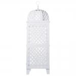 Lanterna Marroquina Ponto Cruz Branca Grande em Metal - 95x28 cm