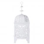 Lanterna Decorativa Marroquina Branca em Metal - 79x27 cm
