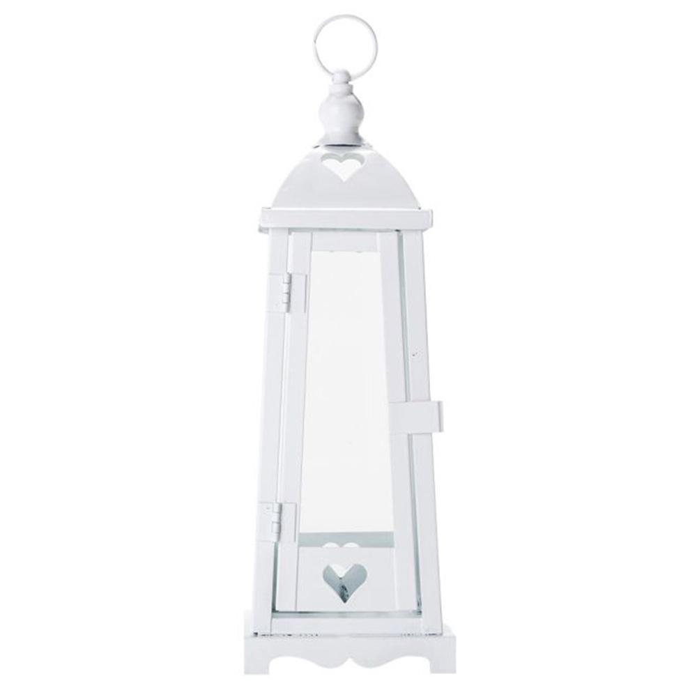 Lanterna Marroquina Heart Branca em Metal - 29x10 cm