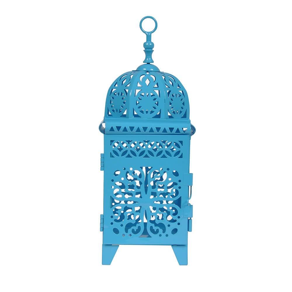 Lanterna Marroquina Flor New Azul em Metal e Vidro - Urban - 38x19 cm