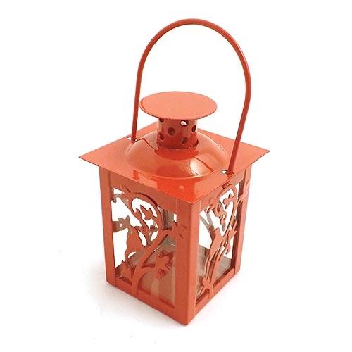 Lanterna Marroquina Henna Vermelha - Metal / Vidro - 8x16 cm