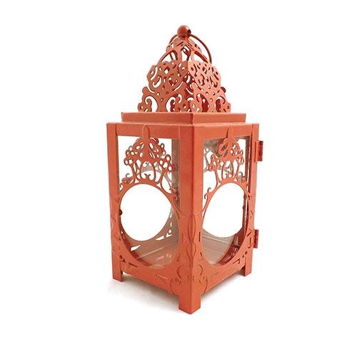 Lanterna Marroquina Henna Vermelha - Metal / Vidro - 9x26 cm
