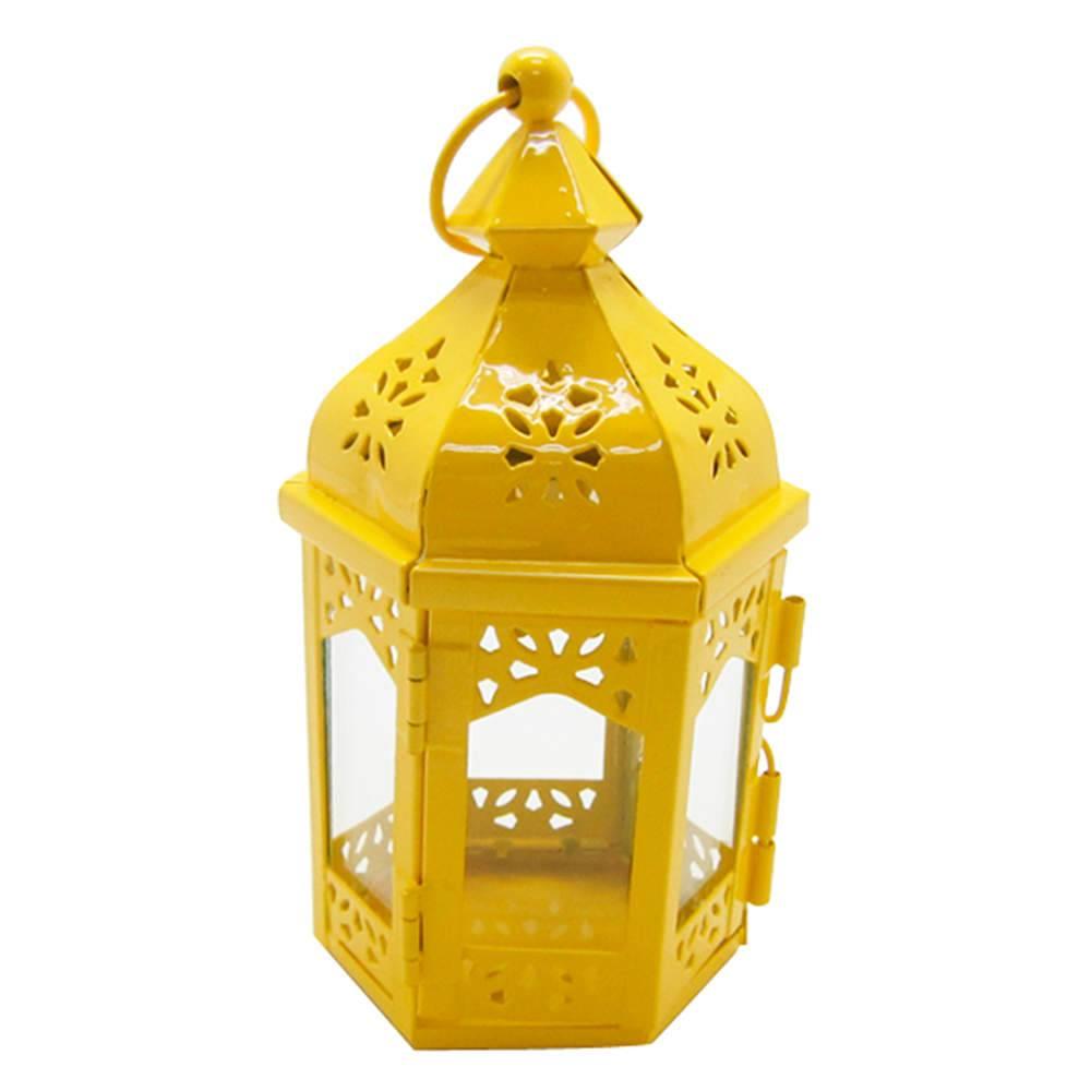Lanterna Marroquina Hexagonal Amarelo em Metal e Vidro - Urban - 17x9 cm