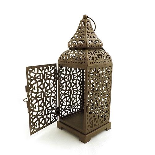Lanterna Marroquina Marrom - Metal - 10x33 cm
