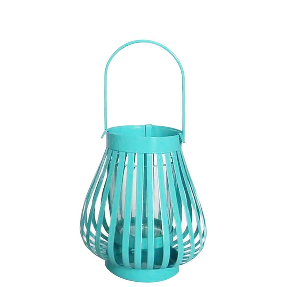 Lanterna Marroquina Mini Basket Trigonal Azul em Metal e Vidro - Urban - 12x10,5 cm