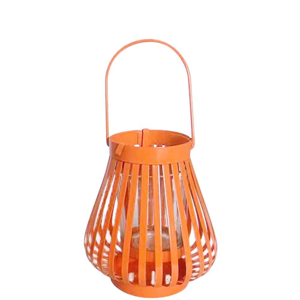 Lanterna Marroquina Mini Basket Trigonal Laranja em Metal e Vidro - Urban - 12x10,5 cm