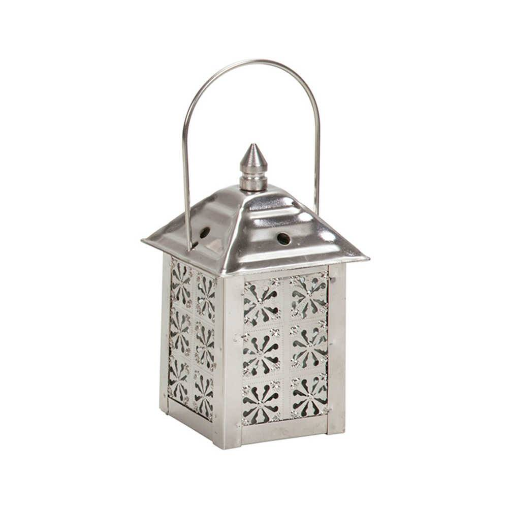 Lanterna Marroquina Mini Flower Chrome em Metal - Urban - 12x7,5 cm