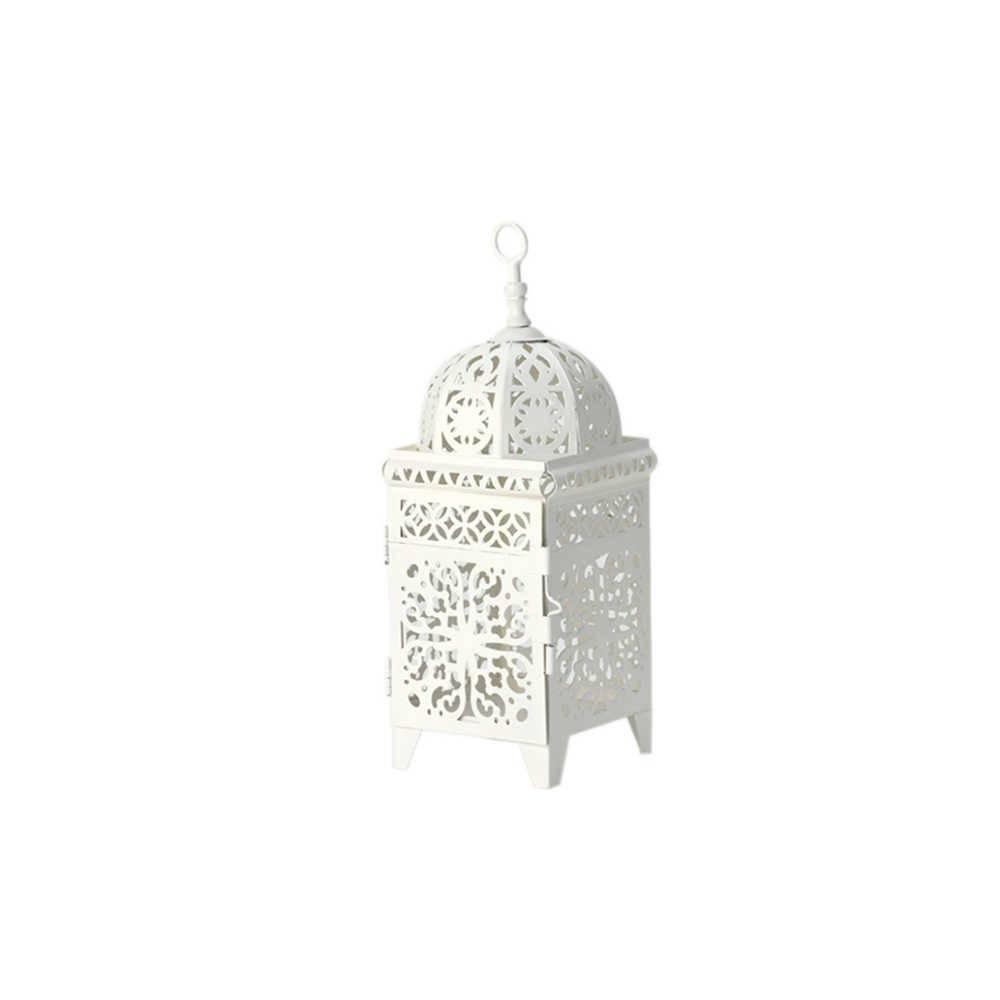 Lanterna Marroquina Pequena Quadrada Flor New em Metal - Urban - 26,5x9,5 cm
