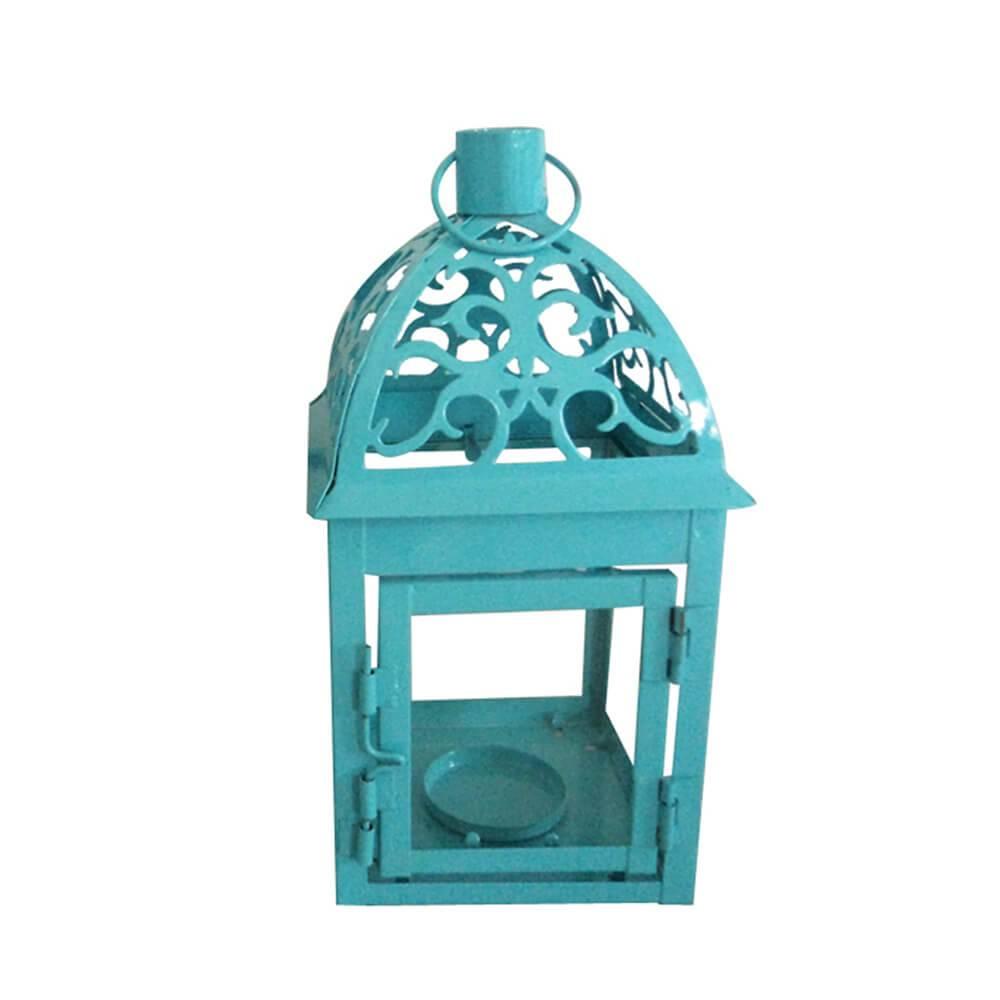 Lanterna Marroquina Tribal Azul em Metal e Vidro - Urban - 20x10 cm