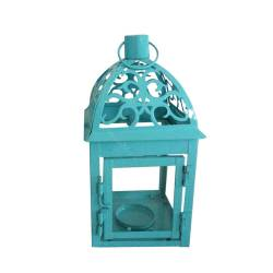 Lanterna Marroquina Tribal Azul em Metal e Vidro - Urban