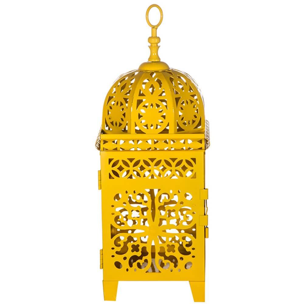 Lanterna Média Marroquina Flor New Amarela em Metal - Urban - 36,5x14 cm
