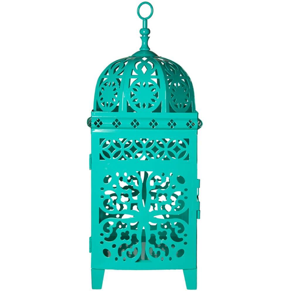 Lanterna Média Marroquina Flor New Verde em Metal - Urban - 36,5x14 cm