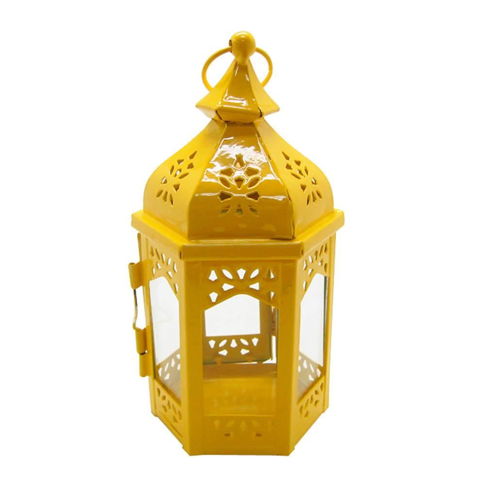 Lanterna Média Marroquina Hexagonal Amarela em Metal e Vidro - Urban - 19x10 cm