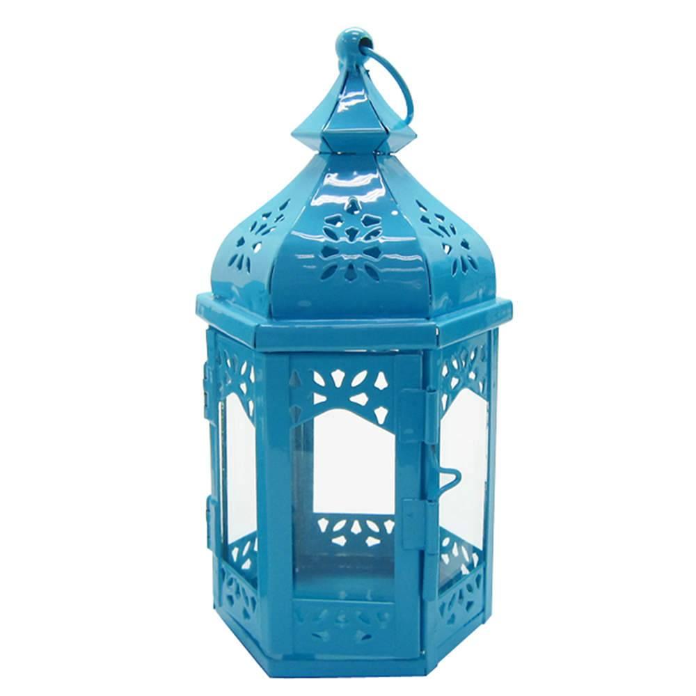 Lanterna Média Marroquina Hexagonal Azul em Metal e Vidro - Urban - 19x10 cm