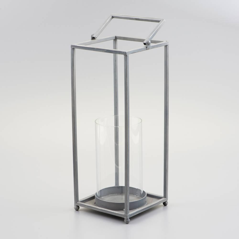 Lanterna Prata Grande em Metal Esmaltado - 49x16 cm