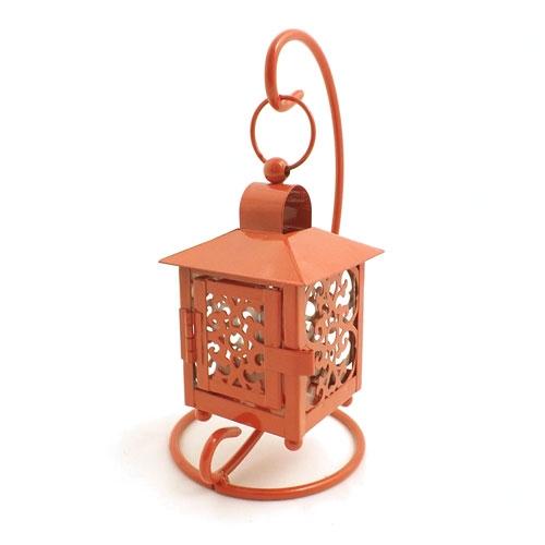 Lanterna de Mesa Marroquina Henna Vermelha - Metal / Vidro - 11x20 cm