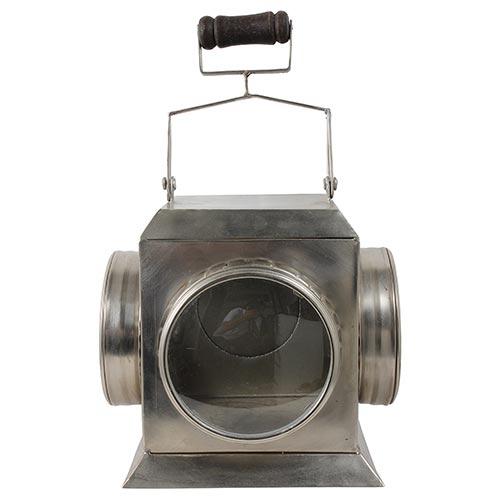 Lanterna Metal Vidros Curvos Fullway - 28x23cm