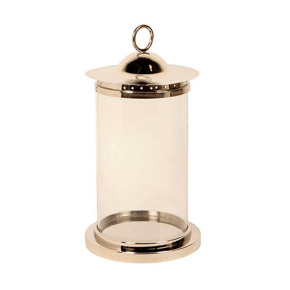 Lanterna Nippon Grande Prata em Aço Inox e Vidro - 62x32 cm