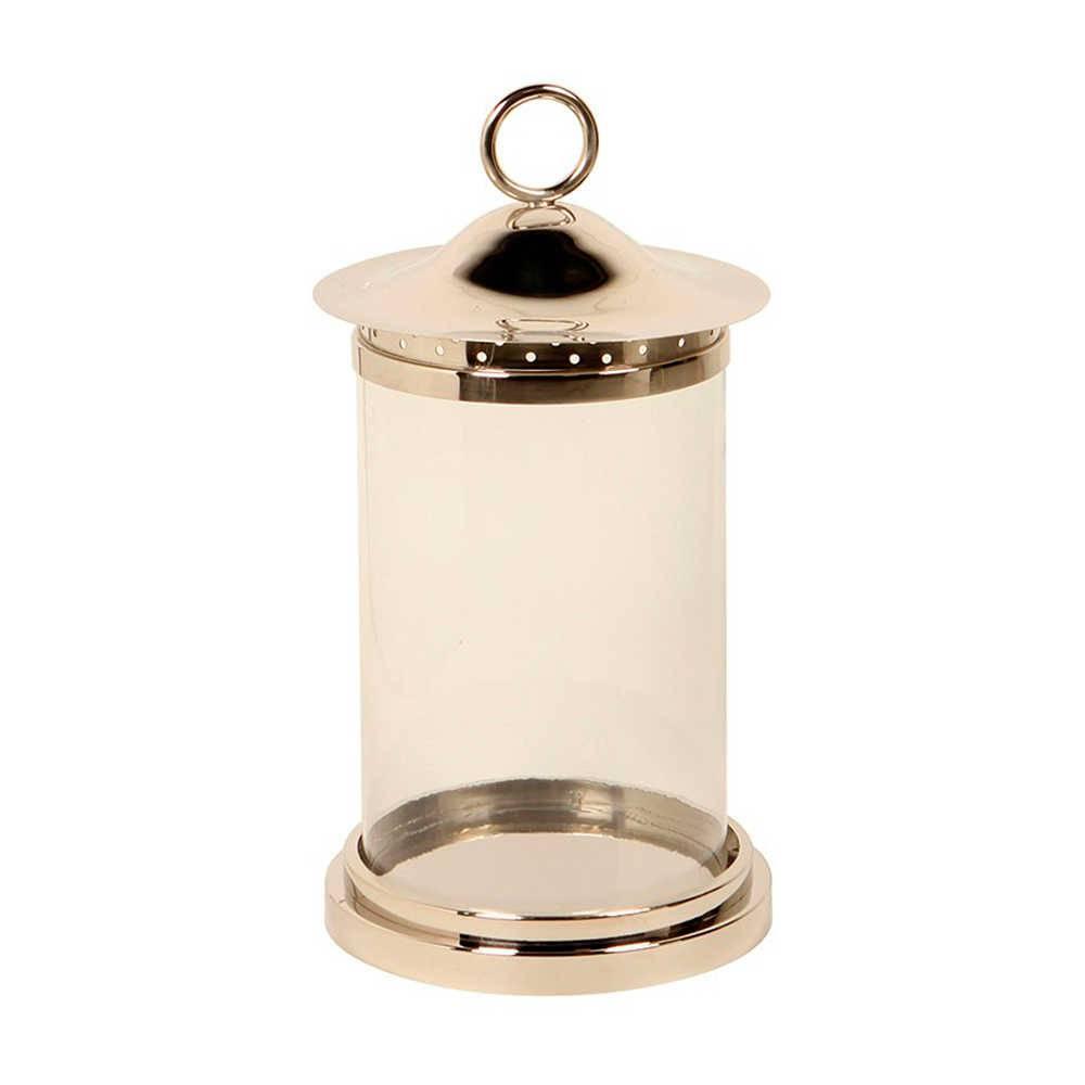 Lanterna Nippon Média Prata em Aço Inox e Vidro - 56x29 cm