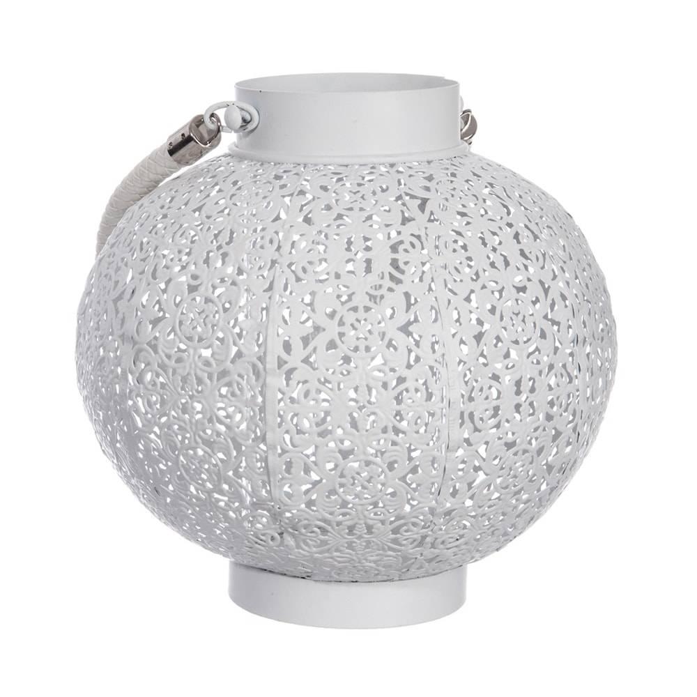 Lanterna Oriental Vazada Branca em Metal - 24x22 cm