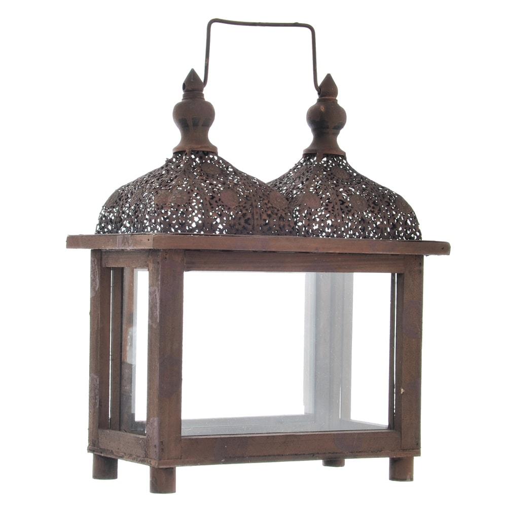 Lanterna Oriente Marrom em Metal - 34x27 cm