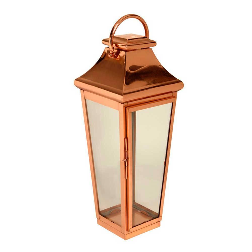 Lanterna Passion Grande em Cobre e Vidro - 90x31 cm