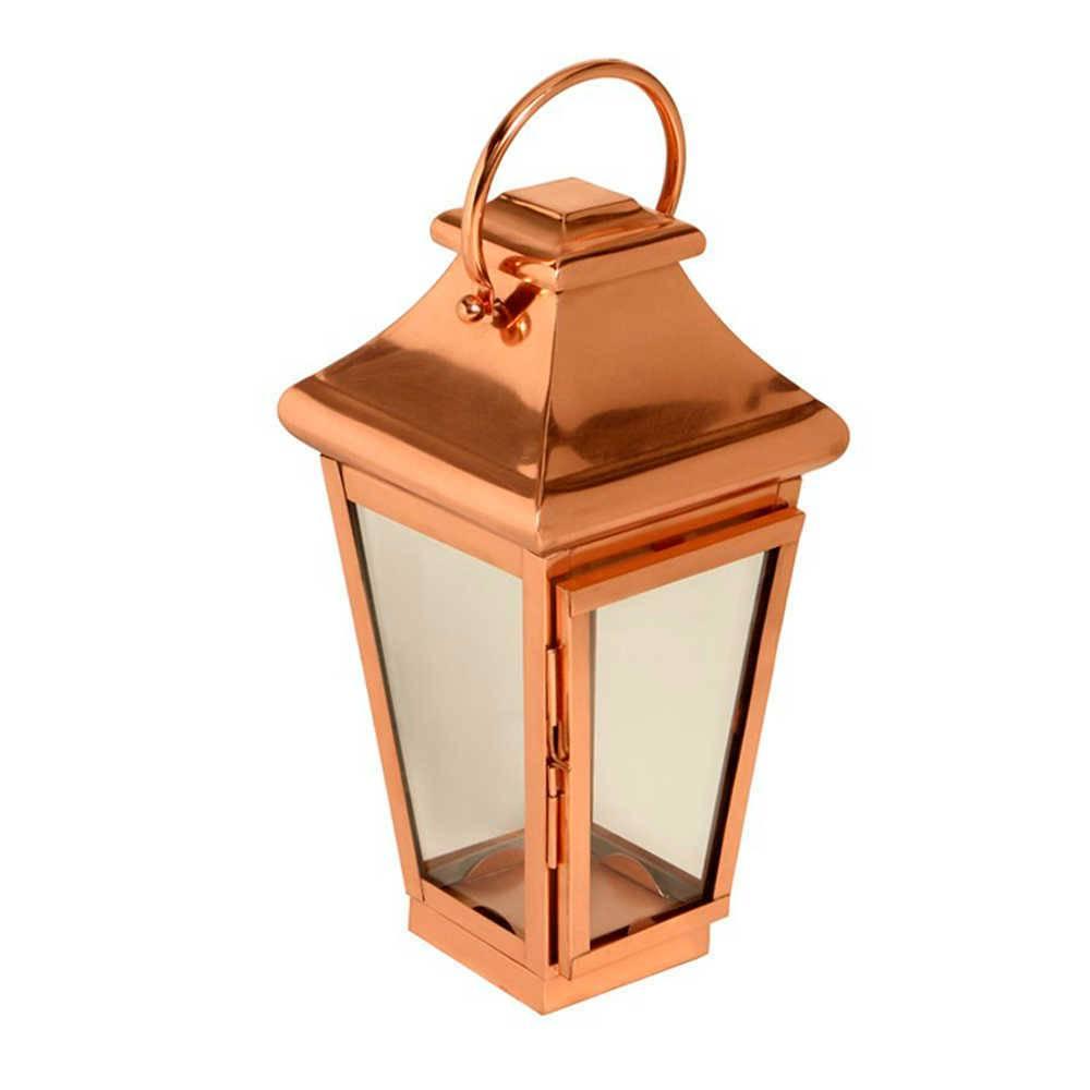 Lanterna Passion Pequena em Cobre e Vidro - 61x25 cm