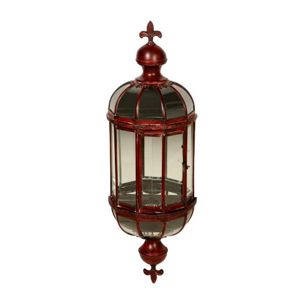 Lanterna Pendente Indiana Vermelha Grande em Metal - 100x30 cm