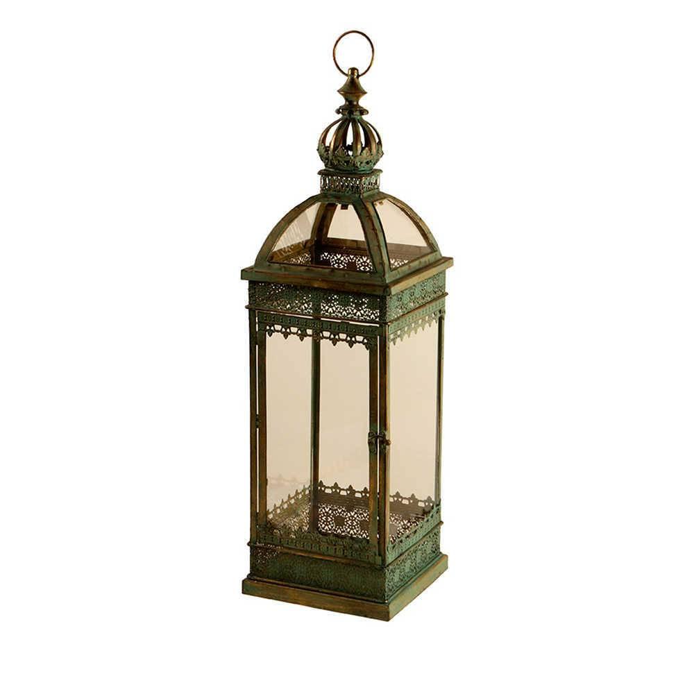 Lanterna Pequena Bose Verde Envelhecido em Metal e Vidro - 77x22 cm