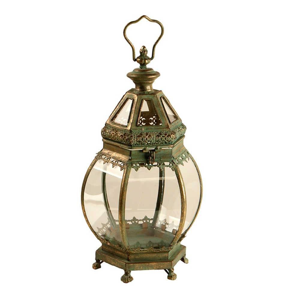 Lanterna Pequena Buja Verde Envelhecido em Metal e Vidro - 50x20 cm