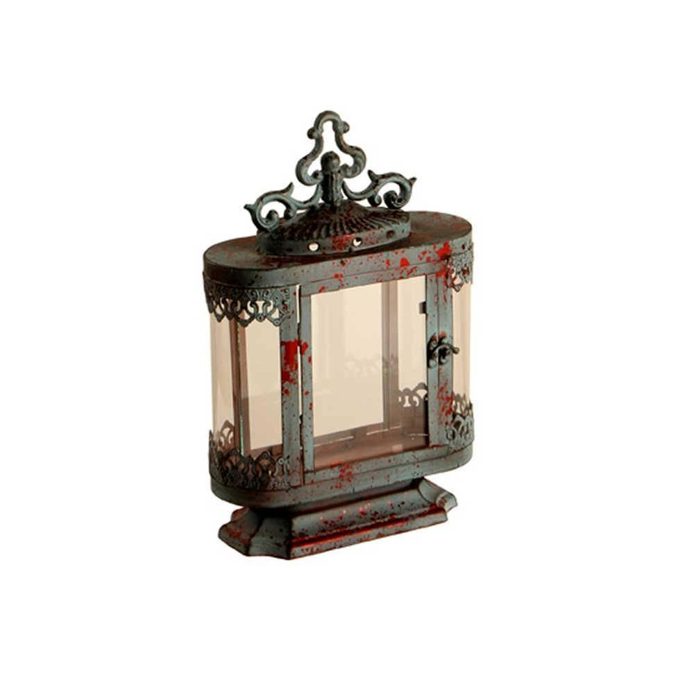 Lanterna Pequena Cavi Cinza Pátina em Metal e Vidro - 37x25 cm