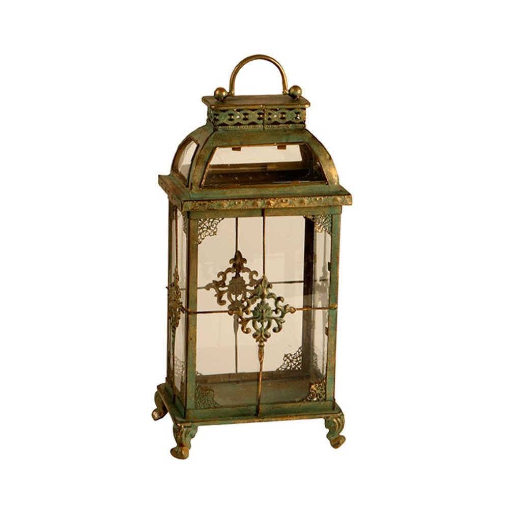 Lanterna Pequena Juise Verde Envelhecido em Metal e Vidro - 46x20 cm