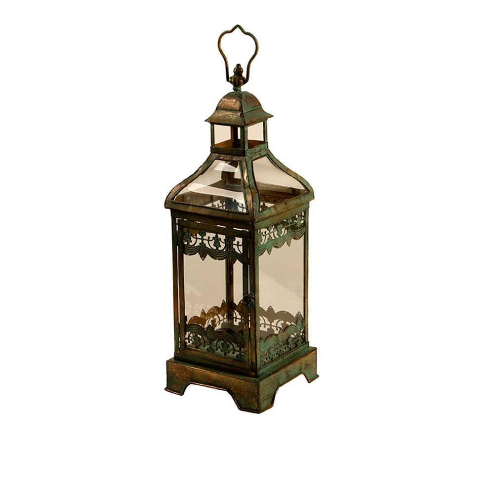 Lanterna Pequena Kise Verde Envelhecido em Metal e Vidro - 55x18 cm