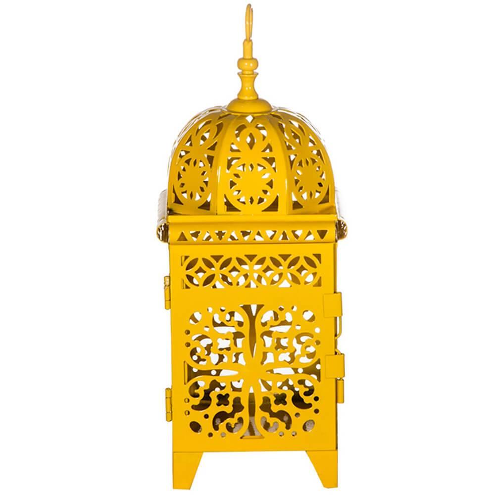 Lanterna Pequena Marroquina Flor New Amarelo em Metal - Urban - 26,5x10,5 cm