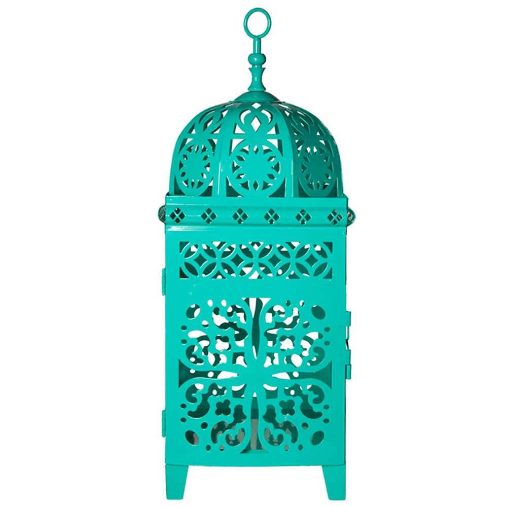 Lanterna Pequena Marroquina Flor New Verde em Metal - Urban - 26,5x11 cm