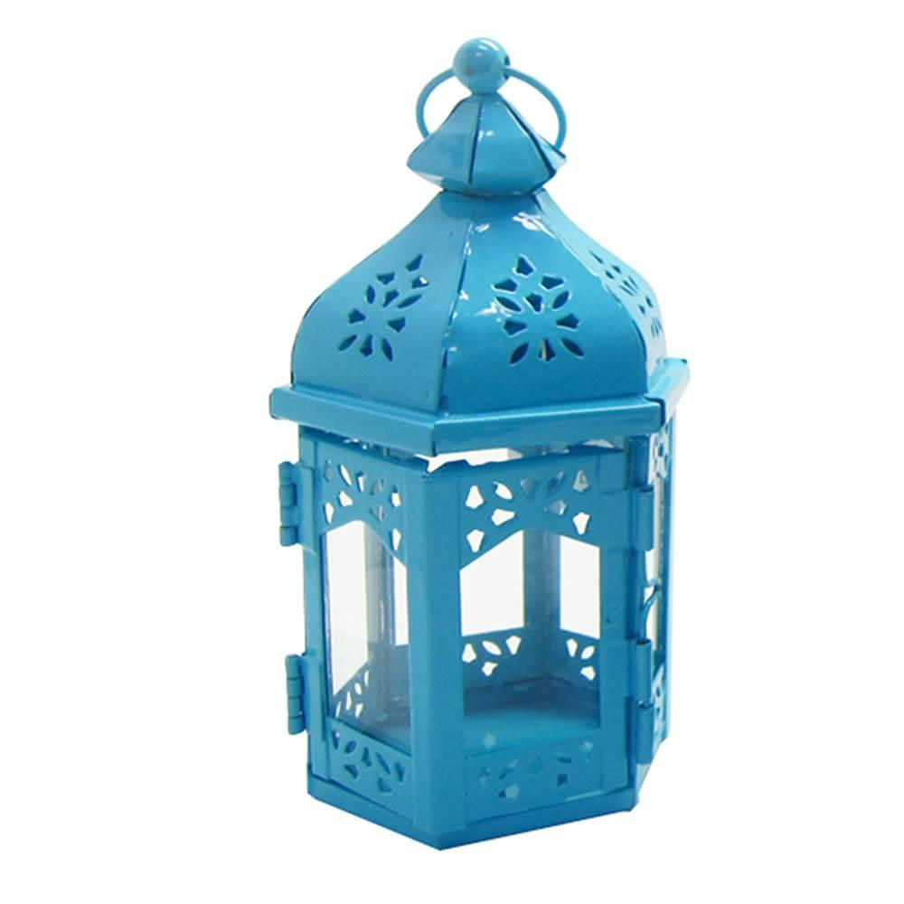 Lanterna Pequena Marroquina Hexagonal Azul em Metal e Vidro - Urban - 17x9 cm