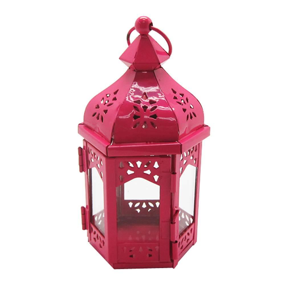 Lanterna Pequena Marroquina Hexagonal Rosa em Metal e Vidro - Urban - 17x9 cm