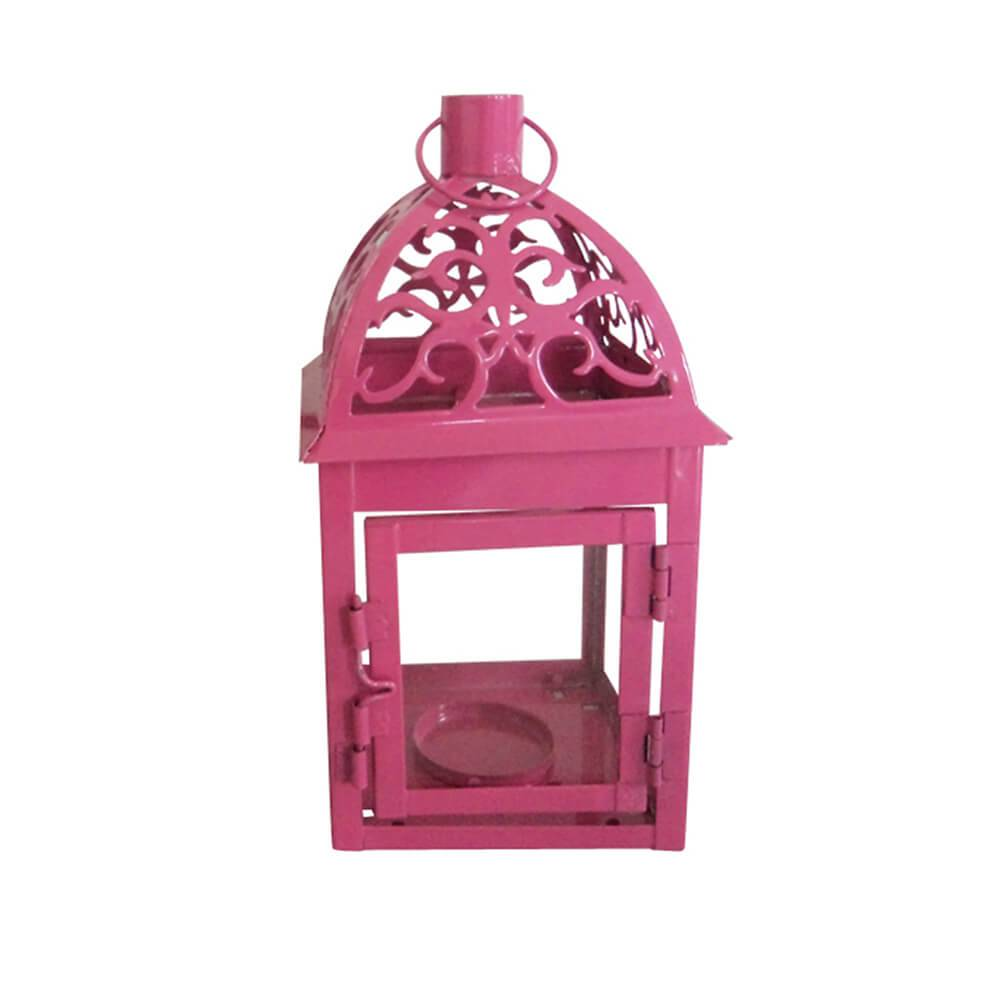 Lanterna Pequena Marroquina Tribal Rosa em Metal e Vidro - Urban -  20x10 cm