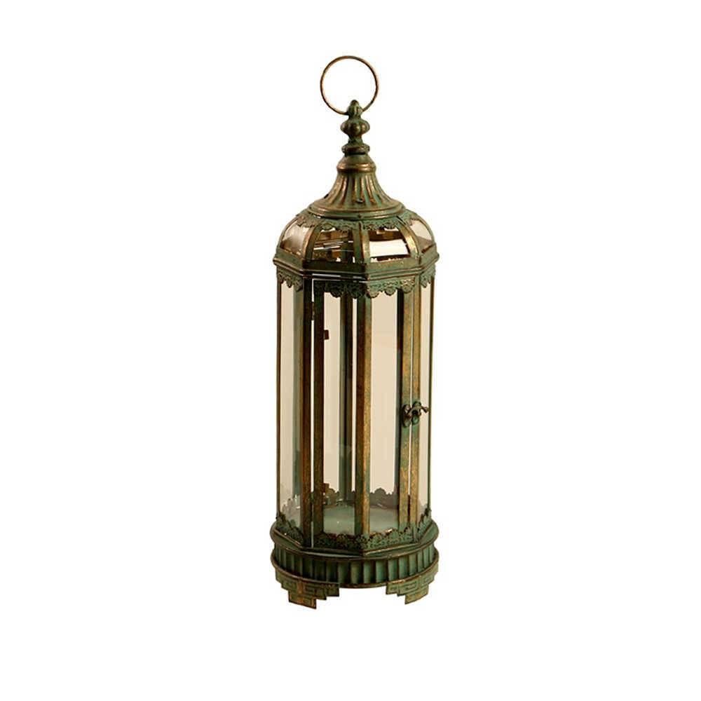 Lanterna Pequena Shul Verde Envelhecido em Metal e Vidro - 52x19 cm