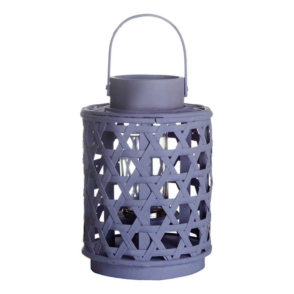 Lanterna Pequena Star Basket Bambu Roxa em Metal - Urban - 23,5x16 cm