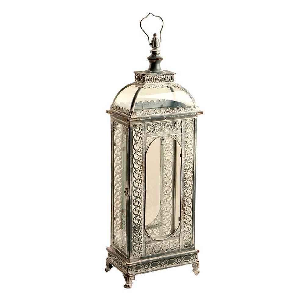 Lanterna Pequena Visc Prata Envelhecida em Metal e Vidro - 72x23 cm