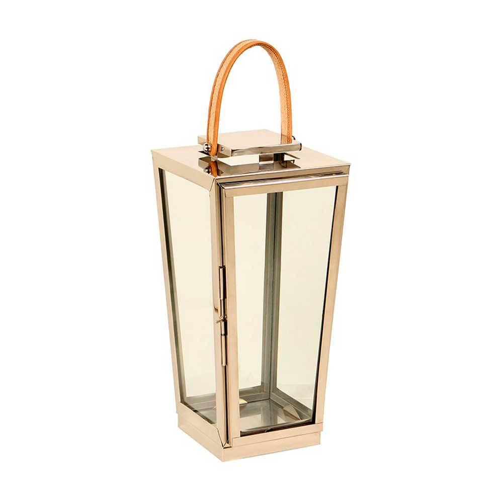 Lanterna Pequim em Aço Inox com Alça em Couro Natural - 53x27 cm