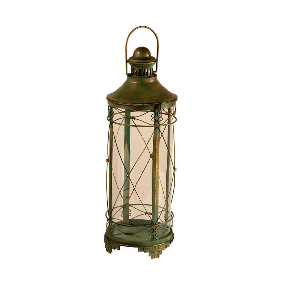 Lanterna Praxi Verde Envelhecido em Metal e Vidro - 63x22 cm